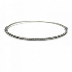 Pulsera oro blanco 18k rígida diámetro 6.3cm. circonitas [AA1770]