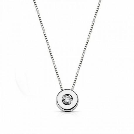 Colgante oro blanco 18k con cadena diamante brillante 0.03ct [AA1800]