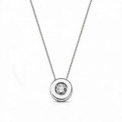 Colgante oro blanco 18k cadena 41.5cm. brillante 0.11ct [AA1810]