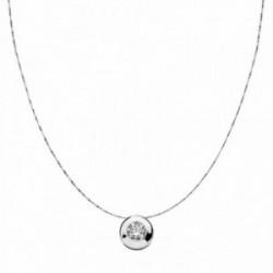 Colgante oro blanco 18k con cadena chatón 8.5mm. circonita  [AA1827]