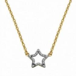 Colgante oro 18k bicolor estrella con cadena 45cm. [AA1838]