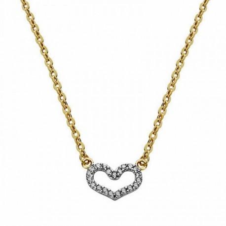 Colgante oro 18k bicolor corazón con cadena 45cm. [AA1839]