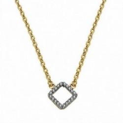 Colgante oro 18k bicolor rombo con cadena 45cm. [AA1840]