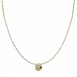 Colgante oro 18k con cadena 6.5mm. chatón circonita [AA1846]