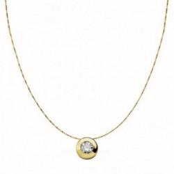 Colgante oro 18k con cadena 8.5mm. chatón circonita [AA1848]