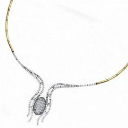 Gargantilla oro 18k bicolor 45cm. centro circonitas  [AA1850]