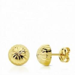 Pendientes oro 18k media bola tallada 7mm. cierre presión [AA1907]