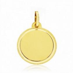 Medalla oro 18k disco liso tallado 18mm. fondo mate cerco brillo