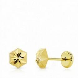 Pendientes oro 18k estrella tallados 5mm. niña cierre tuerca