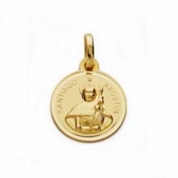 Medalla oro 18k Santiago Apóstol bisel lisa 14mm.  [AA1939GR]