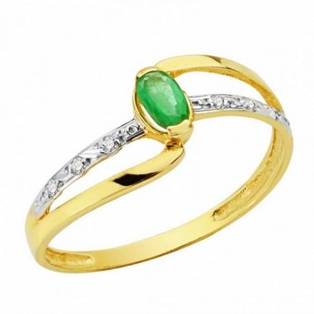 Sortija oro 18k bicolor piedra oval esmeralda circonitas [AA1944]