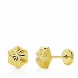 Pendientes oro 18k estrella tallados 6mm. niña cierre tuerca