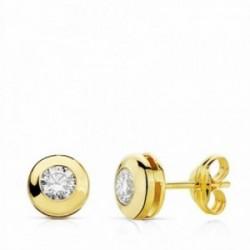Pendientes oro 18k chatón circonita 6.5mm. cierre presión[AA2043]