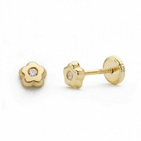 Pendientes oro 18k flor 4mm. circonita cierre tornillo [AA2059]