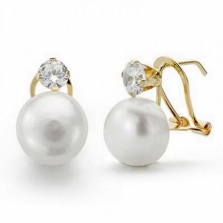Pendientes oro 18k perla 12mm. circonita cierre omega [AA2067]