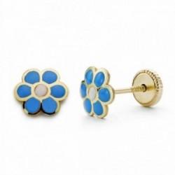 Pendientes oro 18k margarita azul esmaltado 6mm.[AA2071]