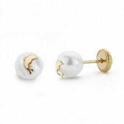 Pendientes oro 18k perlas 6mm. delfín cierre tornillo [AA2135]