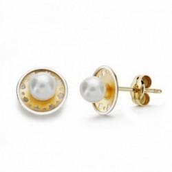 Pendientes oro 18k bicolor redondos 8mm. perlas presión [AA2137]