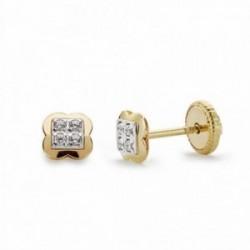 Pendientes oro 18k bicolor cuatrébol 4.5mm. circonitas [AA2139]