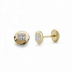 Pendientes oro 18k bicolor 5mm. redondos circonitas [AA2142]