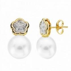Pendientes oro 18k perla 18mm. circonitas flor [AA2168]