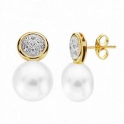 Pendientes oro 18k perla 18mm. circonitas circulo [AA2170]