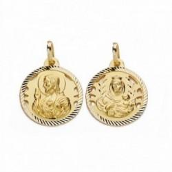 Medalla oro 18k escapulario 18mm Virgen Carmen Corazón Jesús [AA2474]