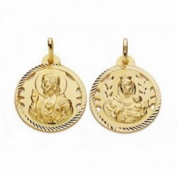 Medalla oro 18k escapulario 22mm Virgen Carmen Corazón Jesús [AA2476]