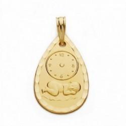 Medalla oro 18k niño reloj 22mm. labrada tallada [AA2484]