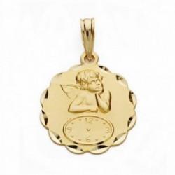 Medalla oro 18k ángel burlón Querubín reloj 19mm. forma flor pétalos tallados
