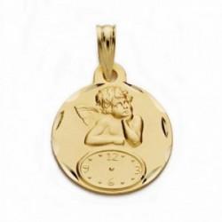 Medalla oro 18k ángel burlón Querubín reloj 15mm. [AA2487]