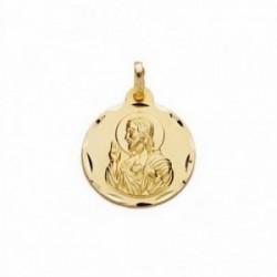 Medalla oro 18k Corazón de Jesús 14mm. labrada tallada [AA2488]