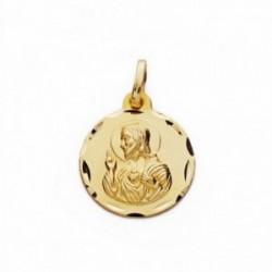Medalla oro 18k Corazón de Jesús 16mm. labrada tallada [AA2489GR]