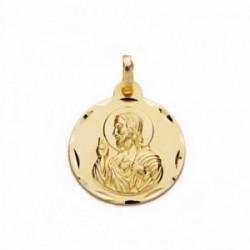 Medalla oro 18k Corazón de Jesús 18mm. labrada tallada [AA2490]
