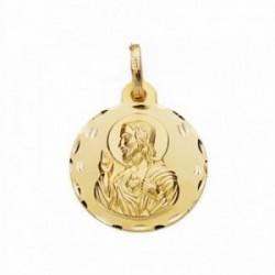 Medalla oro 18k Corazón de Jesús 20mm. labrada tallada [AA2491]