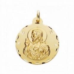Medalla oro 18k Corazón de Jesús 24mm. labrada tallada [AA2493GR]