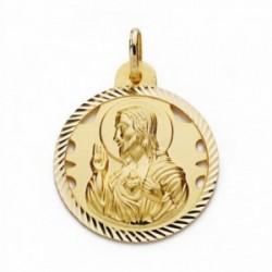 Medalla oro 18k Corazón de Jesús 24mm. calada cerco tallado [AA2498]