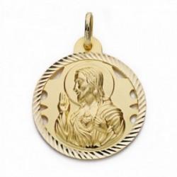 Medalla oro 18k Corazón de Jesús 26mm. calada cerco tallado [AA2499]