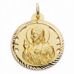 Medalla oro 18k Corazón de Jesús 30mm. calada cerco tallado [AA2501GR]