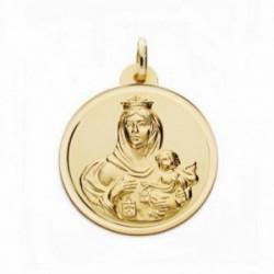 Medalla oro 18k Virgen del Carmen 24mm. bisel lisa [AA2508GR]