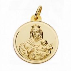 Medalla oro 18k Virgen del Carmen 26mm. bisel lisa [AA2509GR]