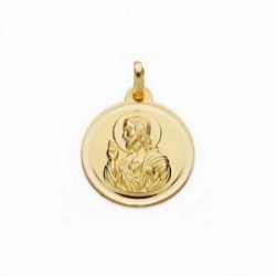 Medalla oro 18k Corazón de Jesús 14mm. bisel lisa [AA2511GR]