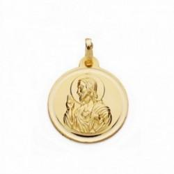 Medalla oro 18k Corazón de Jesús 18mm. bisel lisa [AA2513]