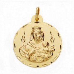 Medalla oro 18k Virgen del Carmen 28mm. labrado tallado [AA2527GR]