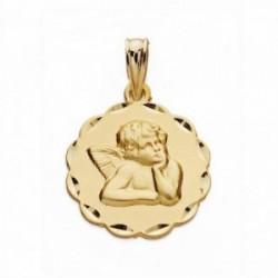 Medalla oro 18k ángel burlón Querubín 16mm. labrado tallado [AA2528GR]