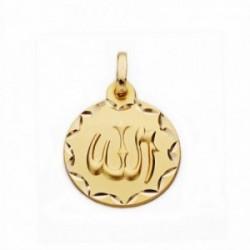 Medalla oro 18k ALLAH ES GRANDE 16mm. labrado tallado [AA2553GR]