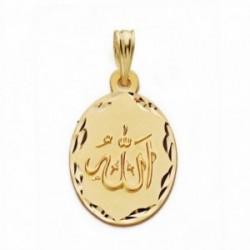 Medalla oro 18k ALLAH ES GRANDE 22mm. oval [AA2558]