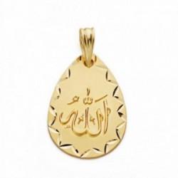 Medalla oro 18k ALLAH ES GRANDE 21mm. lágrima [AA2559]