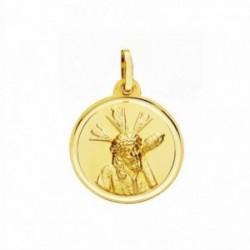 Medalla oro 18k Cristo Gran Poder 18mm. lisa bisel [AA2568]