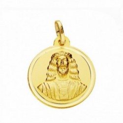 Medalla oro 18k Cristo Medinaceli 18mm. lisa bisel [AA2580]